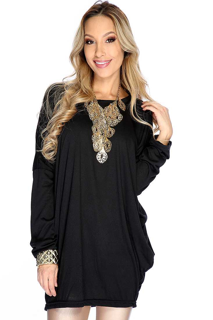 Black Comfy Oversize Long Sleeves Top