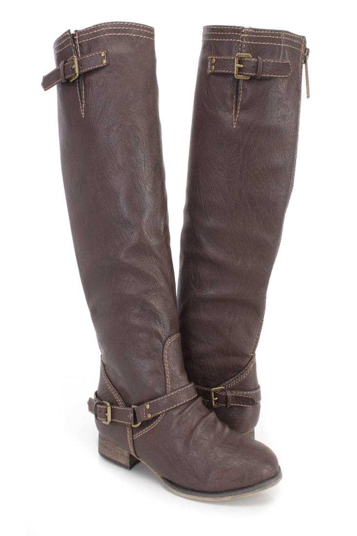 Brown Buckle Accents Knee High Boots