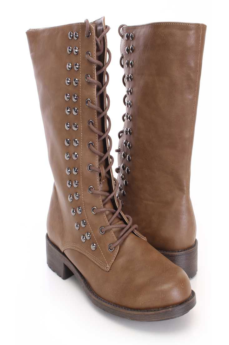 Taupe Lace Up Studded Mid Calf Boots Faux Leater