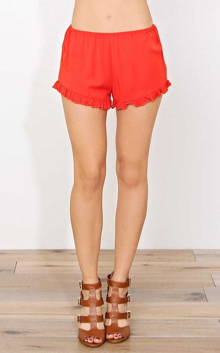 Cora Ruffle Woven Shorts - MED - Orange in Size Medium by Styles For Less