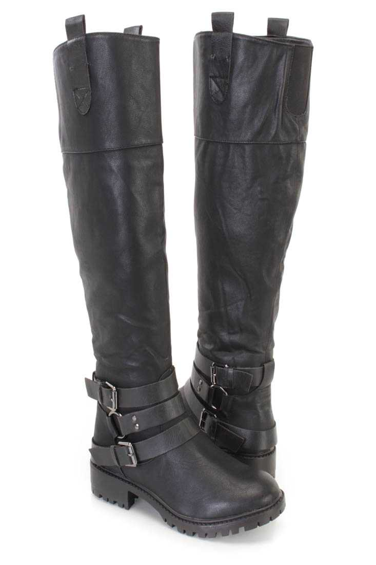 Black Wrap Around Straps Traction Sole Boots Faux Leather
