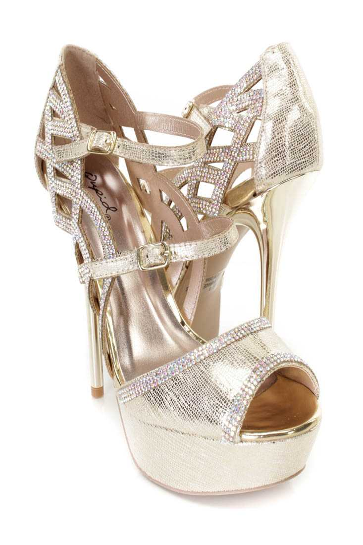 Champagne Rhinestone Decor Platform Heels Faux Leather