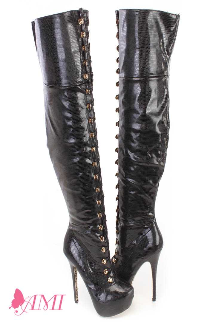 Black Looped Thigh High Platform Boots Snake Faux Leather