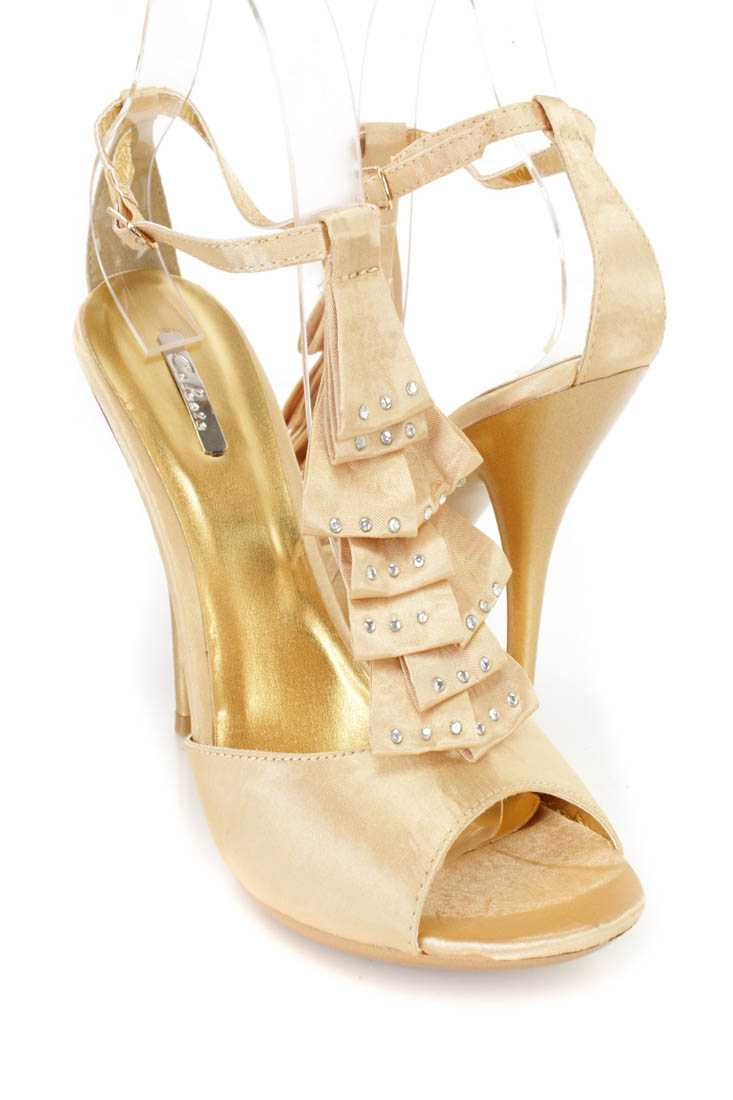 Gold Satin Fabric Pleated Ruffled Strap Open Toe Heels