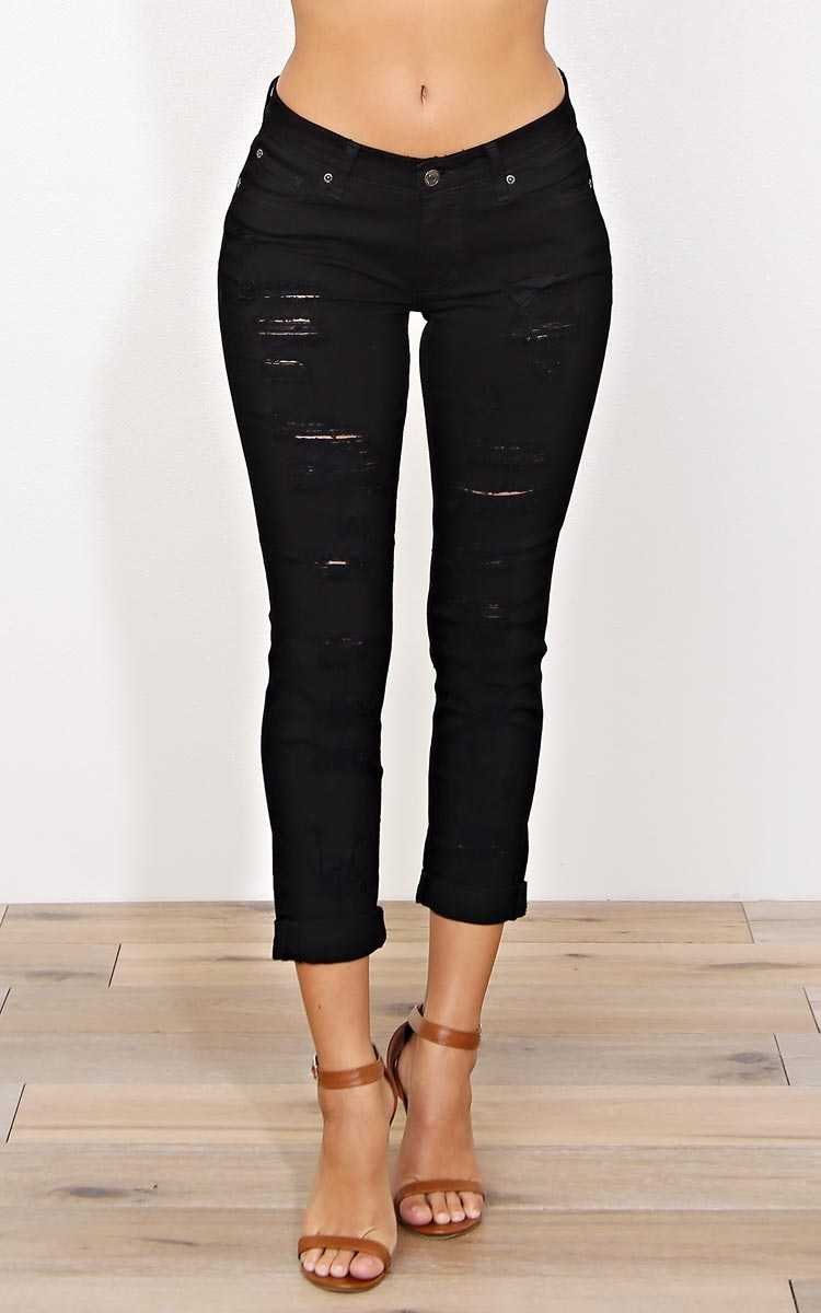 EUNINA Mason Skinny Jeans - Black Destroyed in Size by Styles For Less