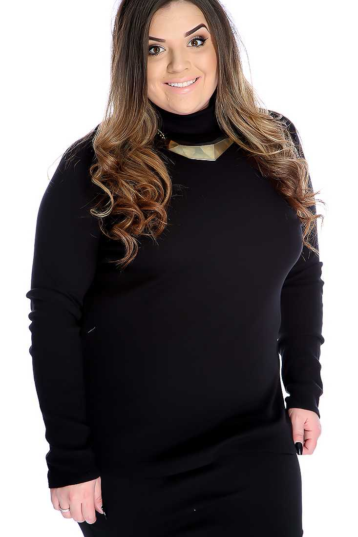 Black Ribbed Turtle Neck Casual Plus Size Top