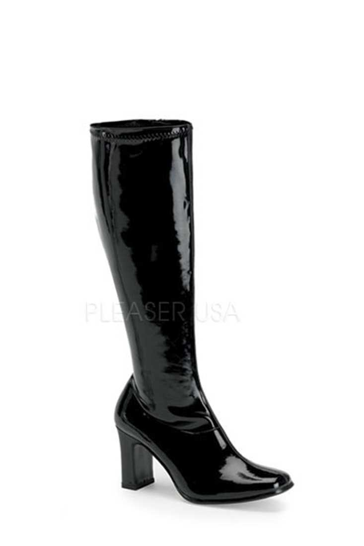 Black Chunky Heel GoGo Boots Patent Faux Leather
