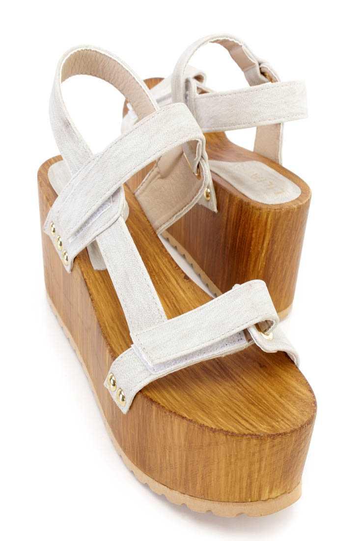 Light Grey Strappy Platform Sandal Wedges Faux Leather