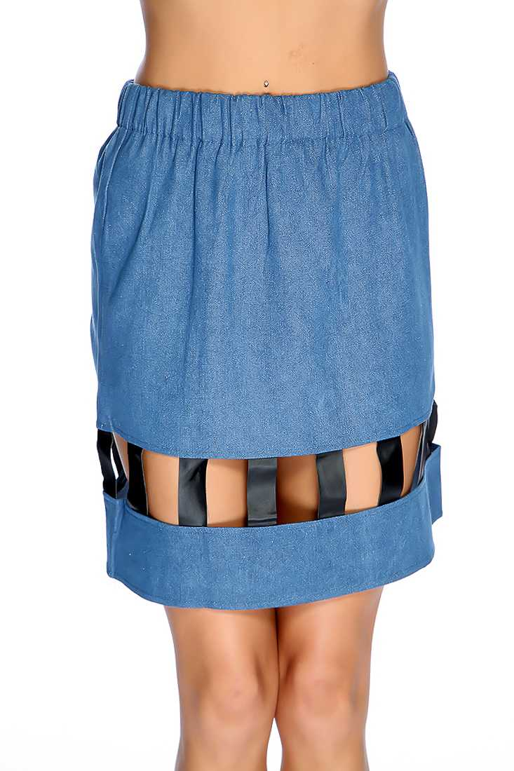 Denim Faux Leather Strappy Cutout Mini Skirt