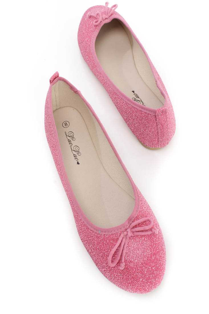 Pink Bow Tie Closed Toe Ballet Flats Shimmer Fabric