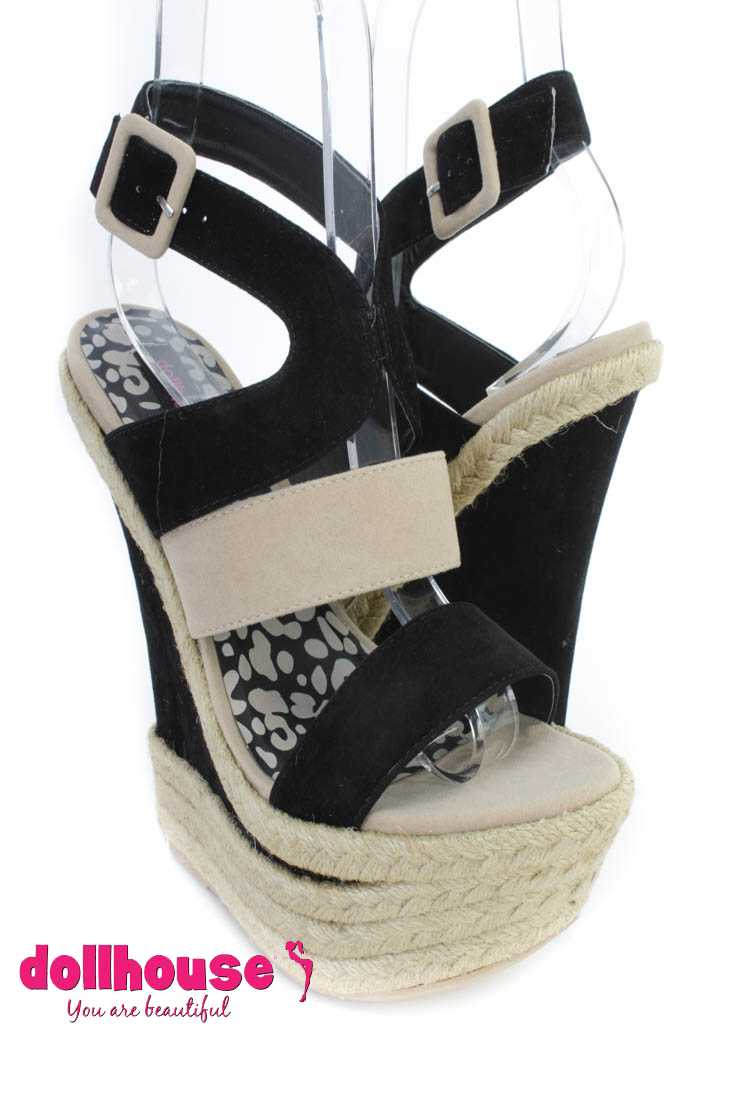 Black Strappy Cut Out Espadrille Wedges Faux Suede