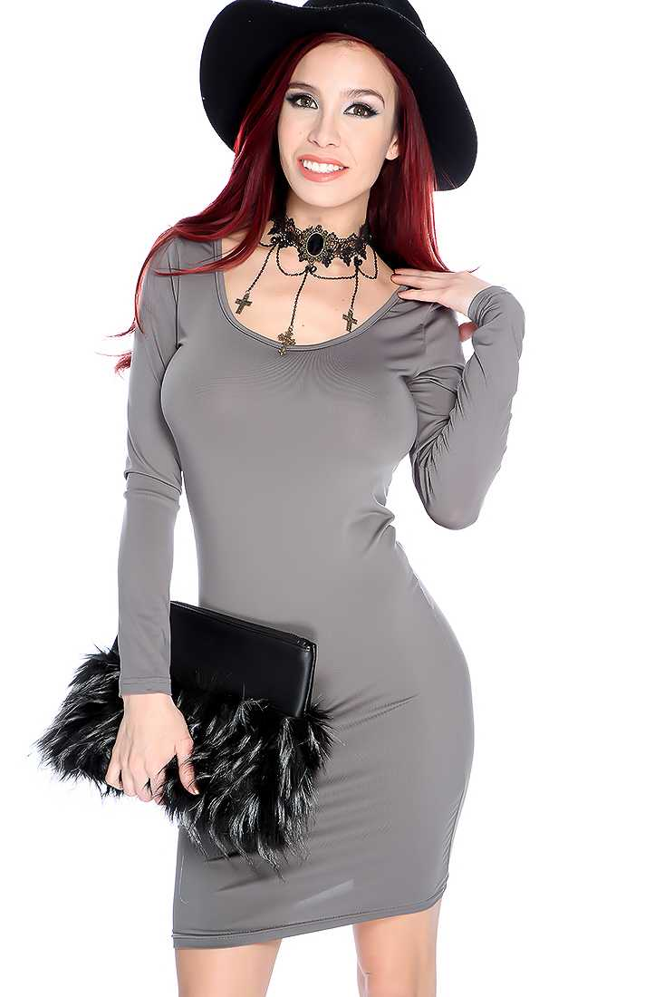 Sexy Grey Long Sleeve Scoop Neck Casual Dress