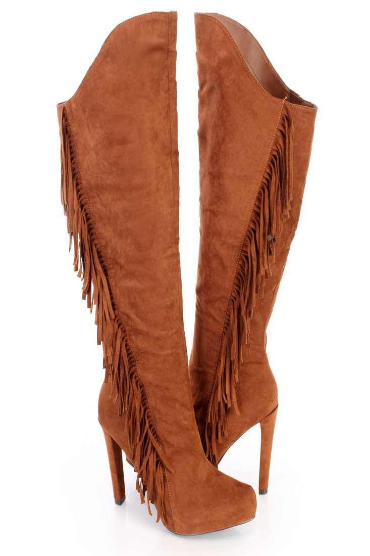 Dark Rust Fringe Knee High Heel Boots Faux Suede