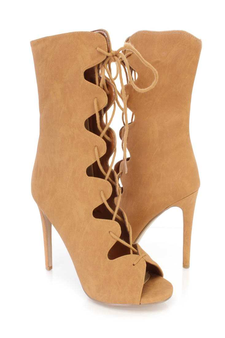 Tan Lace Up Tie Single Sole High Heel Boots Nubuck