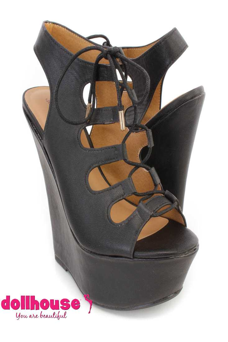 Black Lace Up Peep Toe Platform Wedges Faux Leather