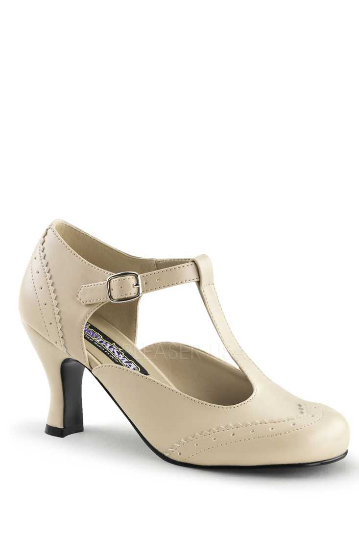 Cream T Strap Winged Toe High Heels Faux Leather