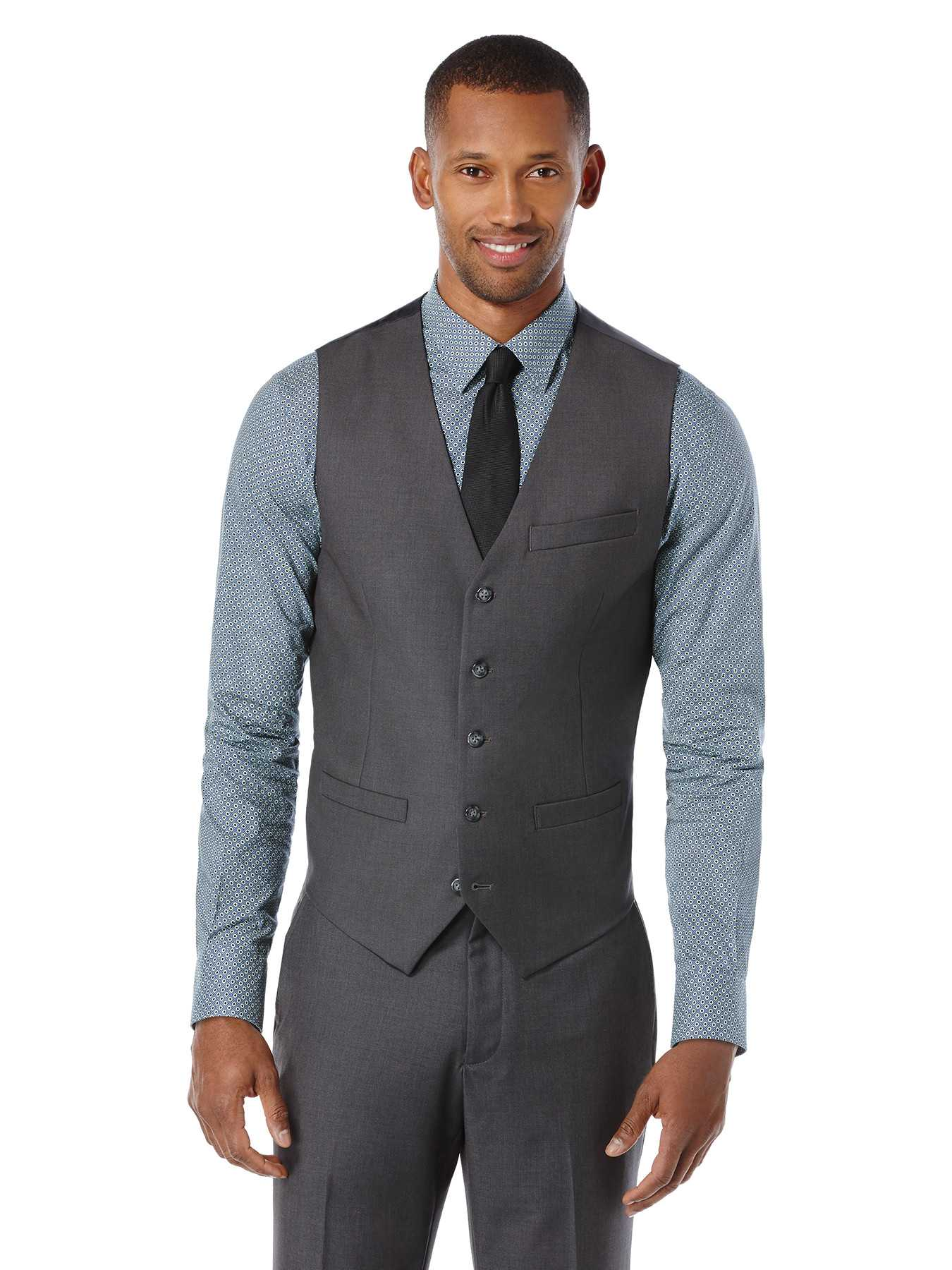 Perry Ellis Sharkskin Solid Suit Vest