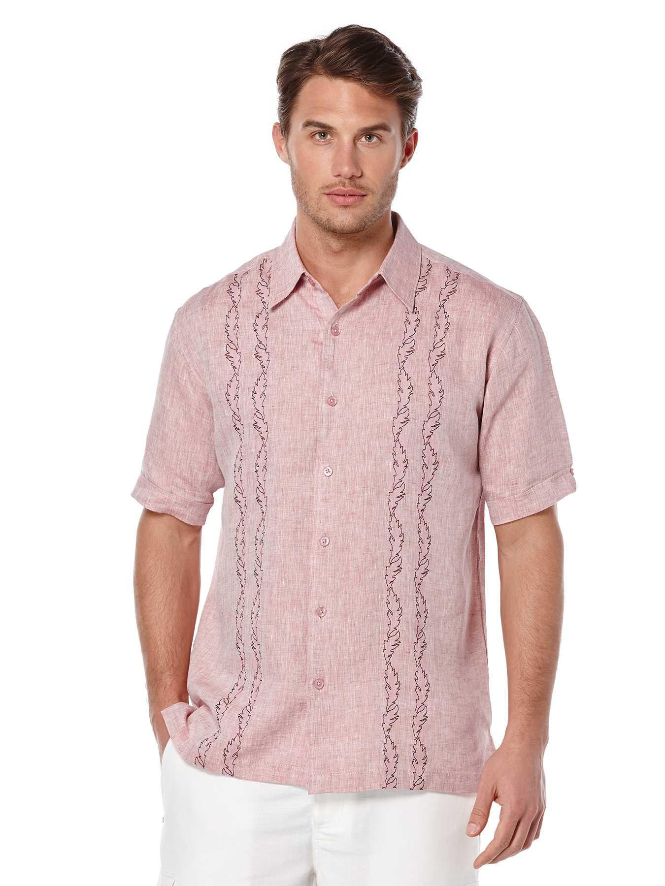 Cubavera Short Sleeve 100% Linen Print Embroidery