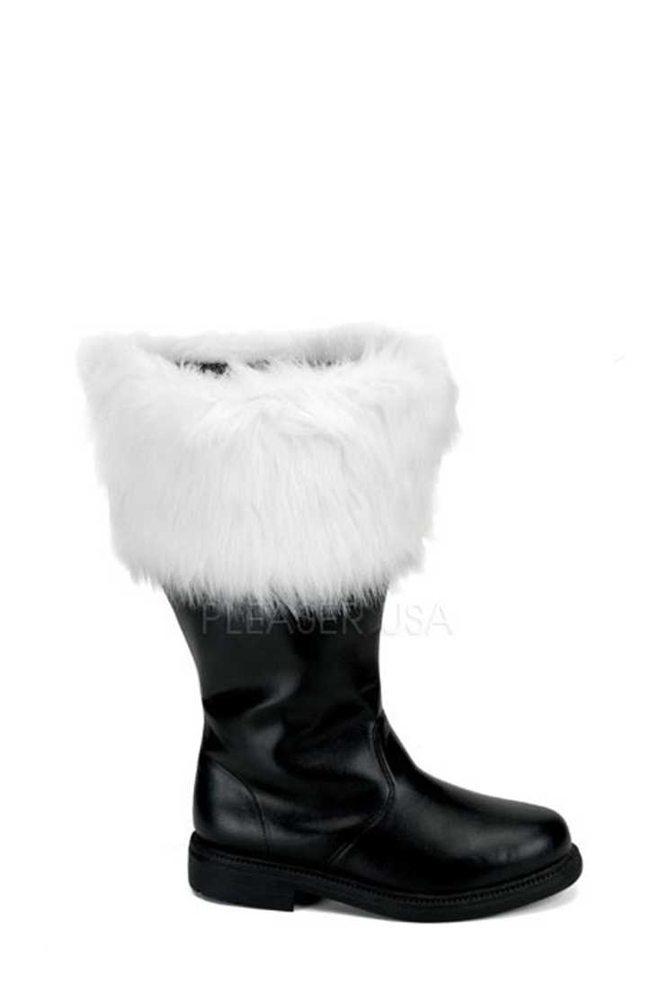 Black White Faux Fur Cuffed Wide Width Santa Boots Faux Leather