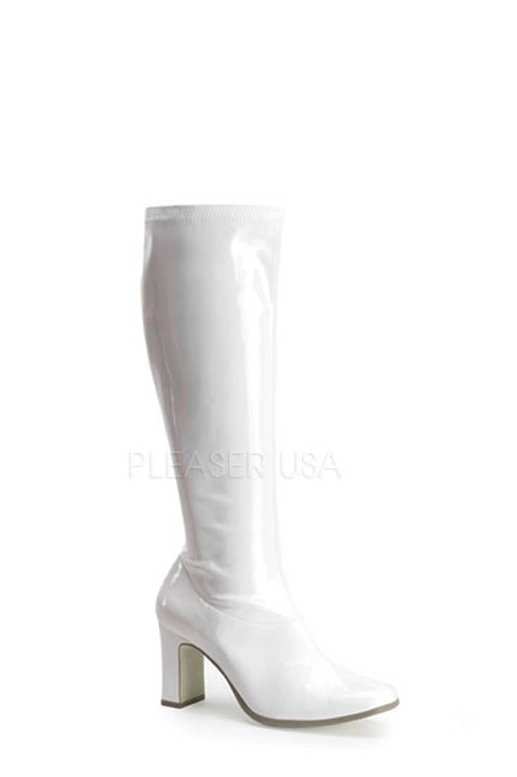 White Chunky Heel GoGo Boots Patent Faux Leather