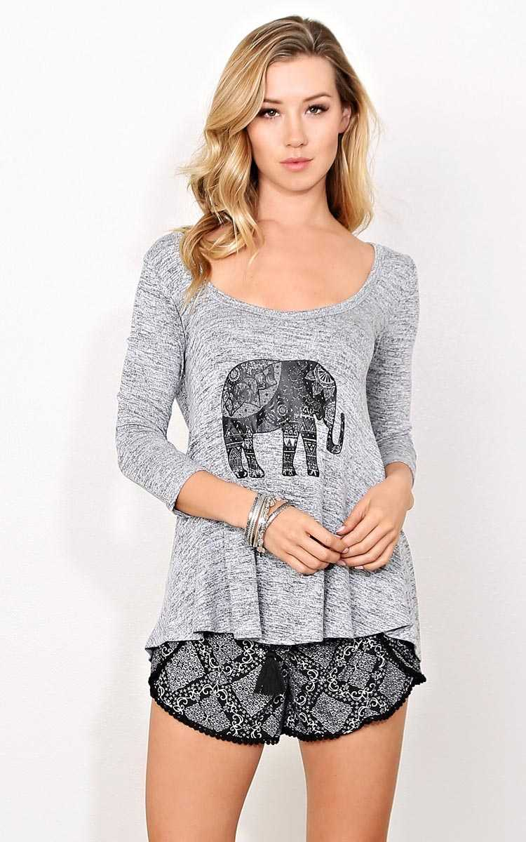 Elephant Devotion Knit Top - XLGE - Med Grey in Size X-Large by Styles For Less