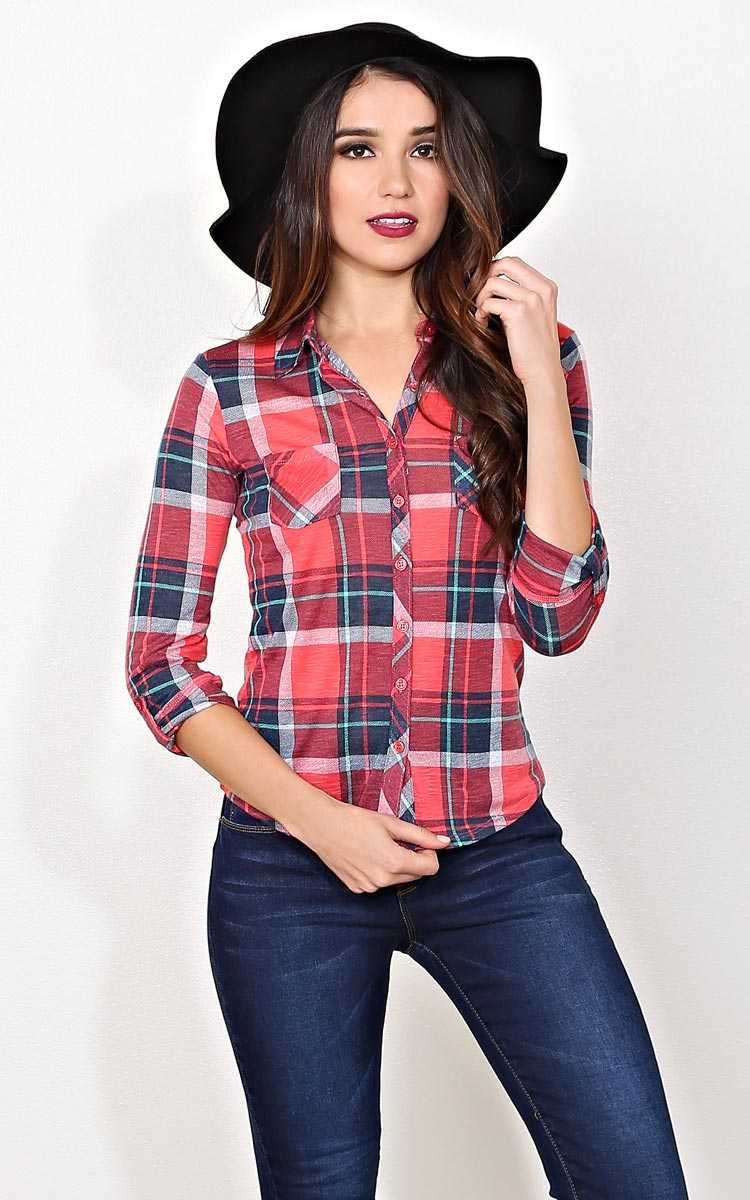 Lydia Plaid Button Up - MED - Coral Combo in Size Medium by Styles For Less