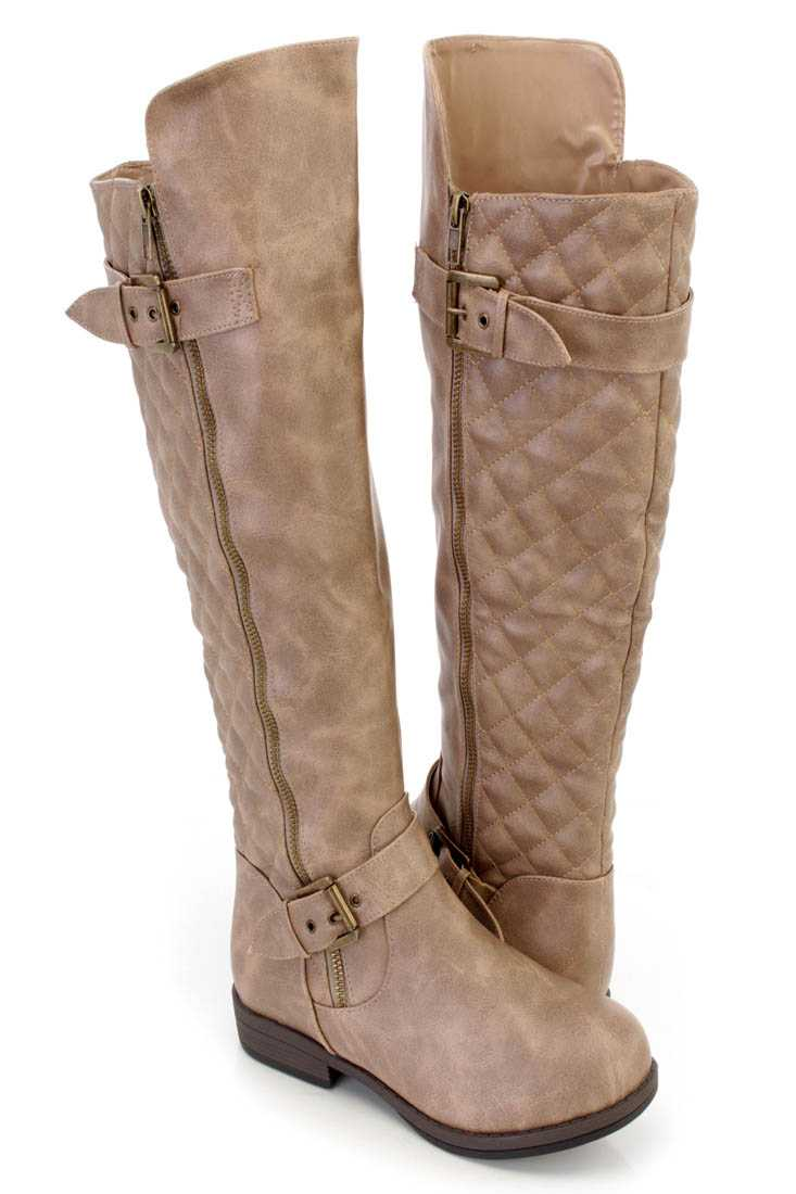Taupe Stitched Quilted Knee High Riding Boots Faux Leather