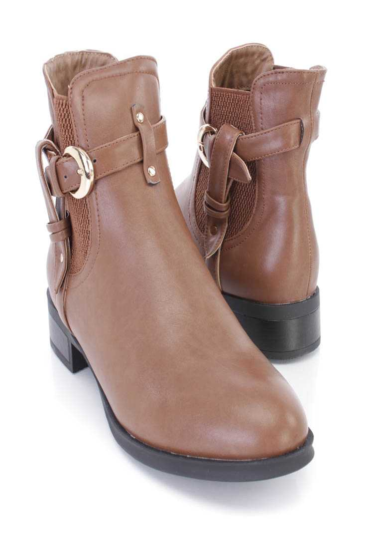 Taupe Strappy Fitted Ankle Booties Faux Leather