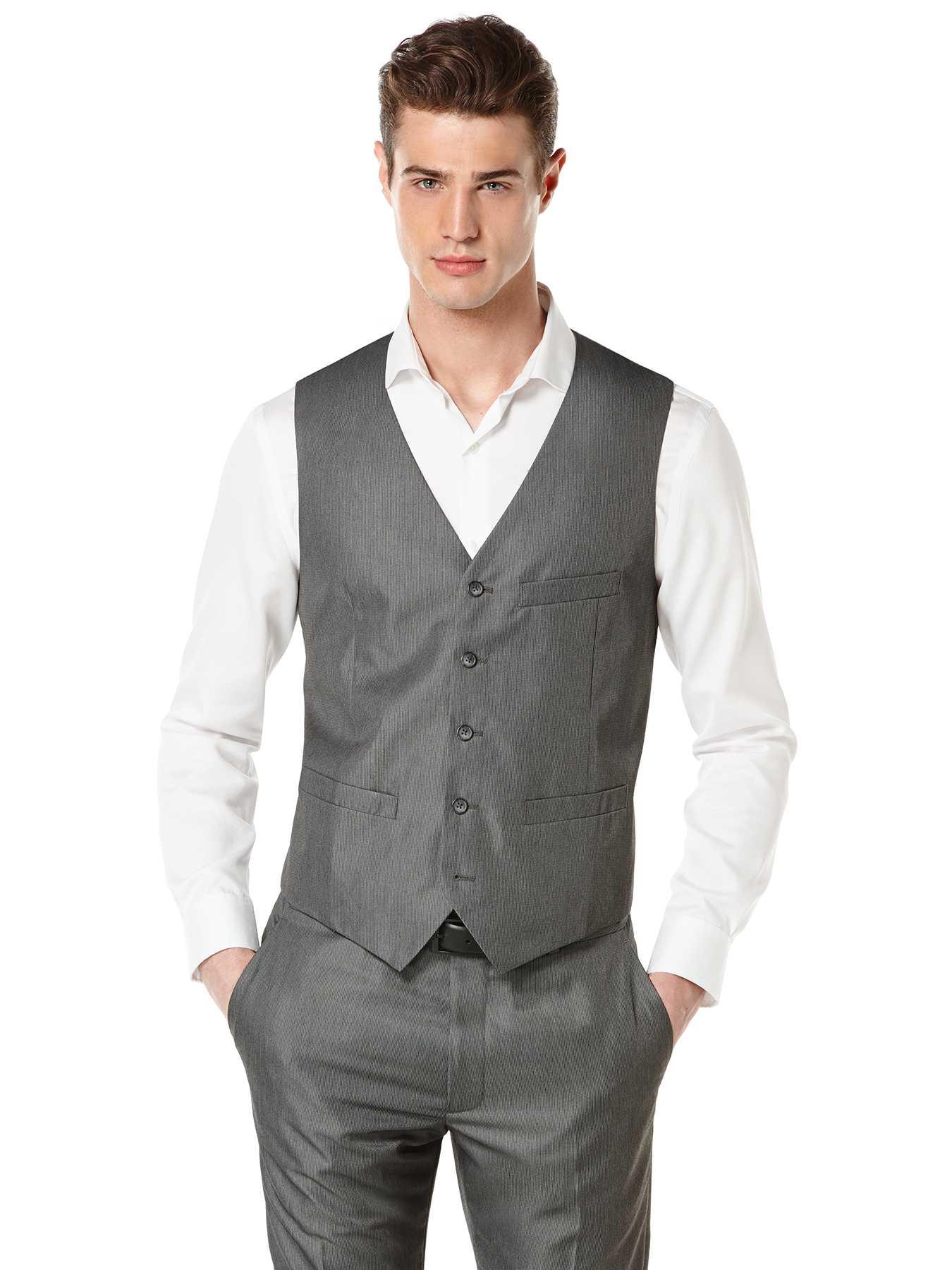 Perry Ellis Micro Twill Heather Suit Vest