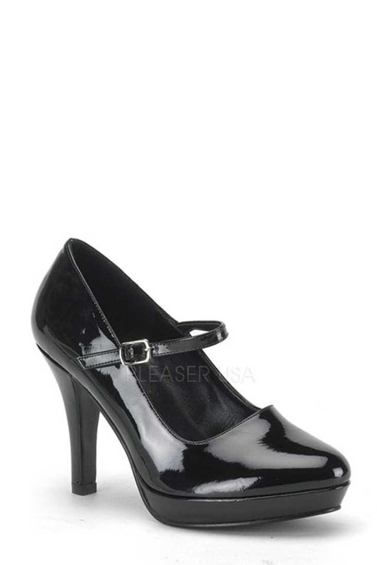 Black Wide Width Maryjane High Heels Patent