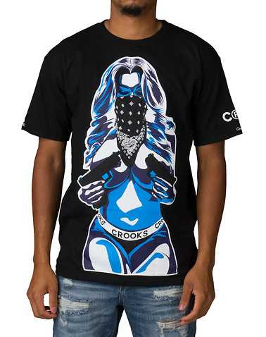 CROOKS AND CASTLES MENS Black Clothing / Tops S
