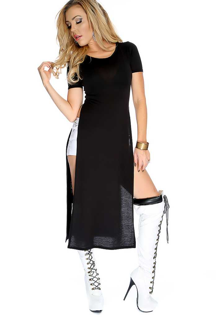Black Long Sheer Side Slits Short Sleeves Top
