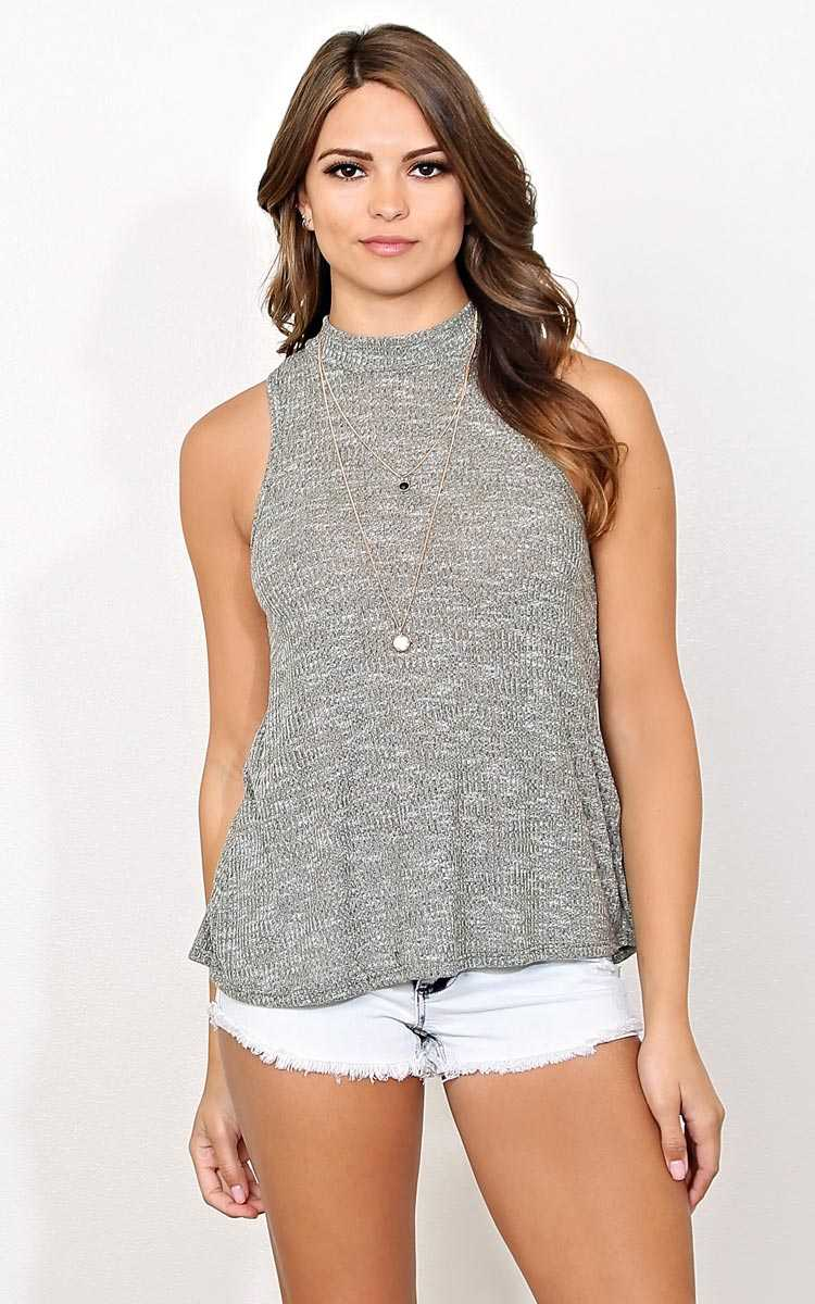 Olive Mock Neck Marled Tank - - Olive/Drab in Size by Styles For Less