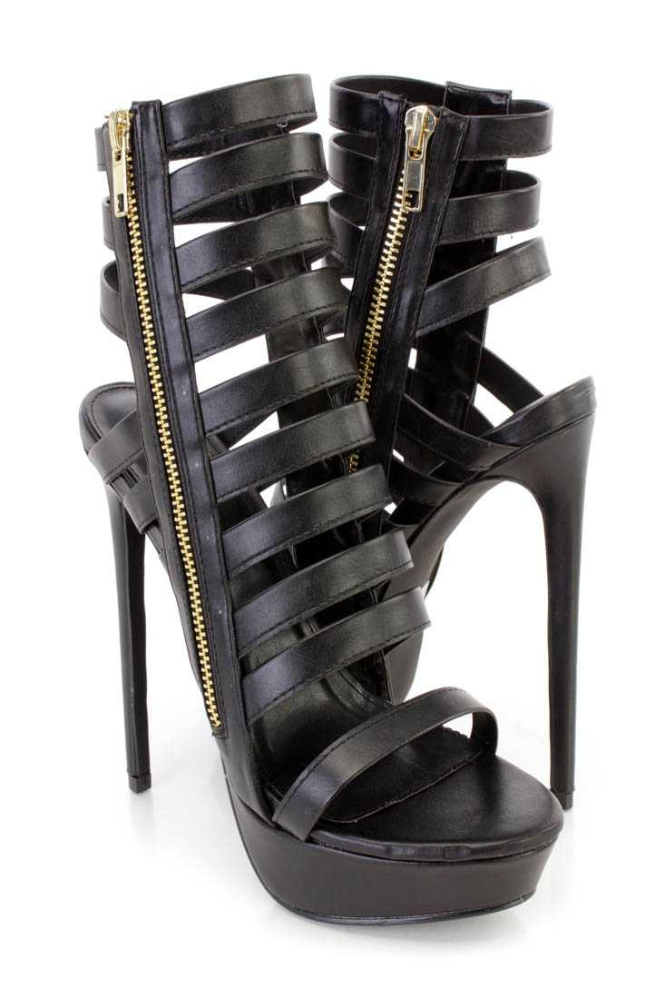 Black Strappy Platform High Heel Booties Faux Leather