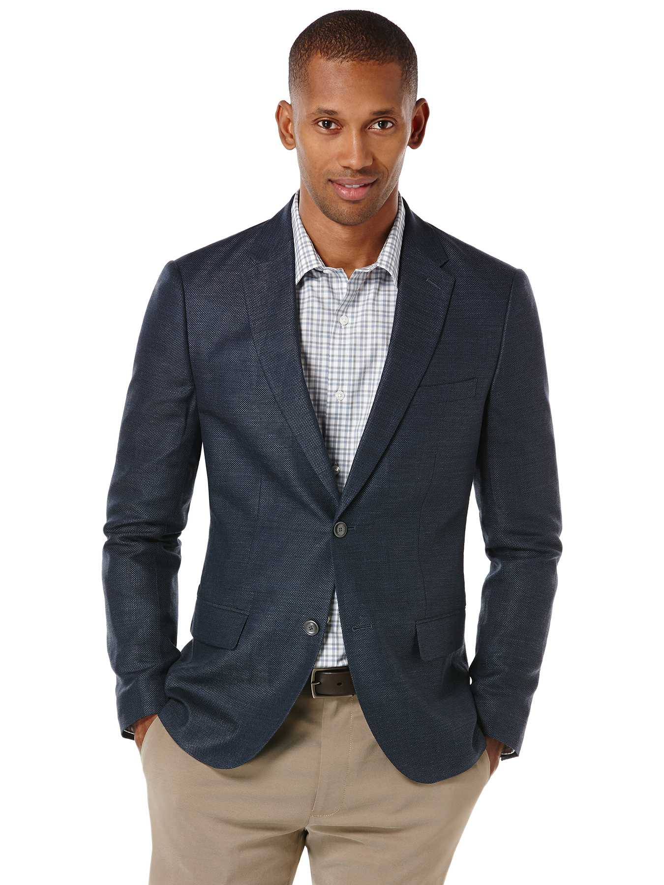 Perry Ellis Slim Fit Linen Hopsack Suit Jacket