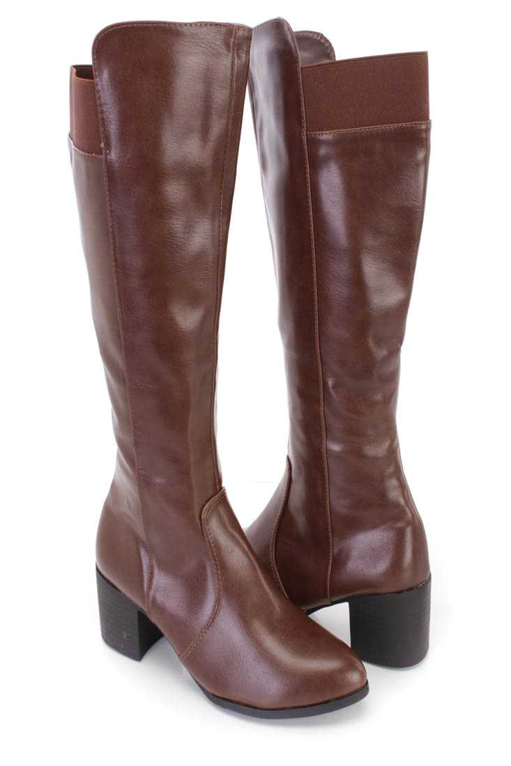 Brown Knee High Chunky Heel Boots Faux Leather