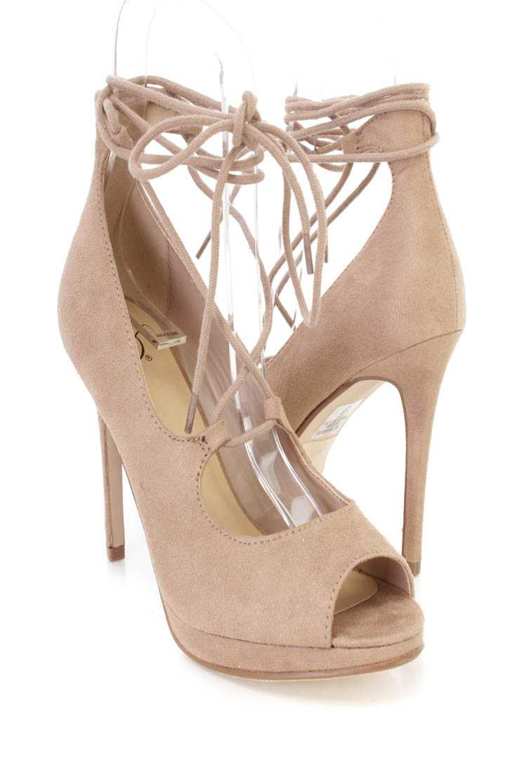 Light Taupe Peep Toe Wrap Around Tie High Heels Faux Suede