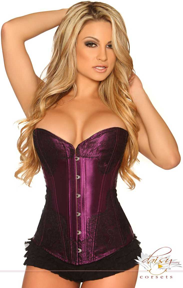 Purple Strapless Eyelash Lace Corset