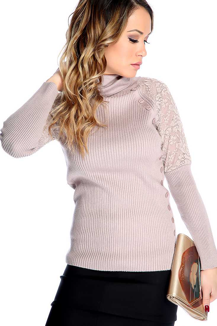 Taupe Long Sleeves Cowl Neckline Lace Design Button Detailing Sweater