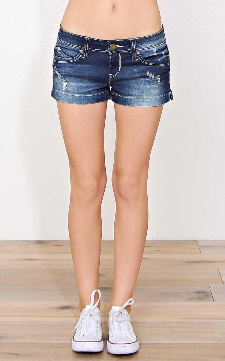 YMI Bella Denim Shorts - Dark Denim in Size by Styles For Less