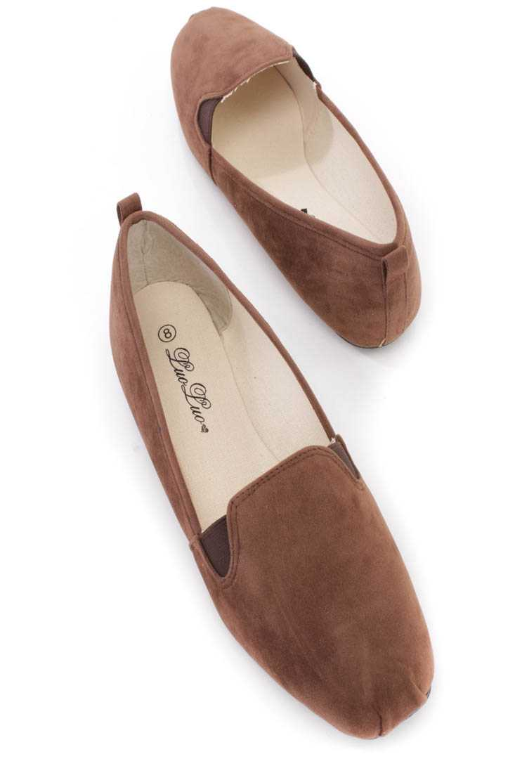 Brown Slip On Loafer Flats Faux Suede