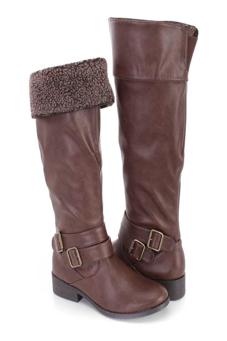 Brown Faux Shearing Cuffed Riding Boots Faux Leather