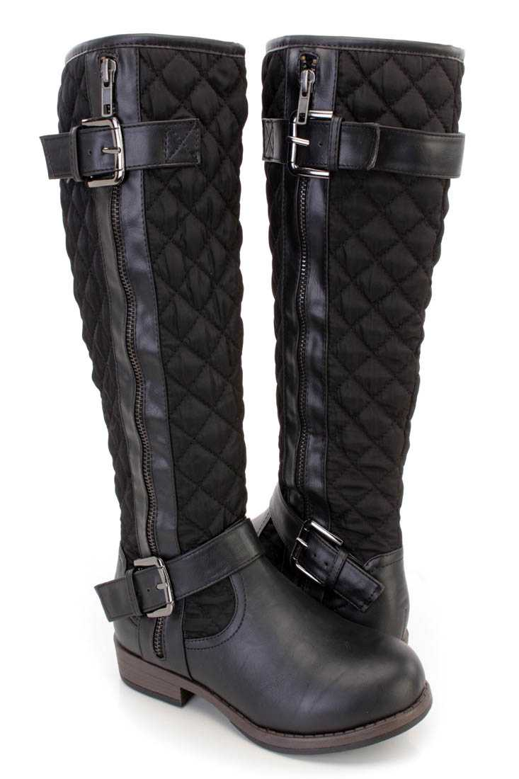 Black Stitched Quilted Strappy Riding Boots Nylon