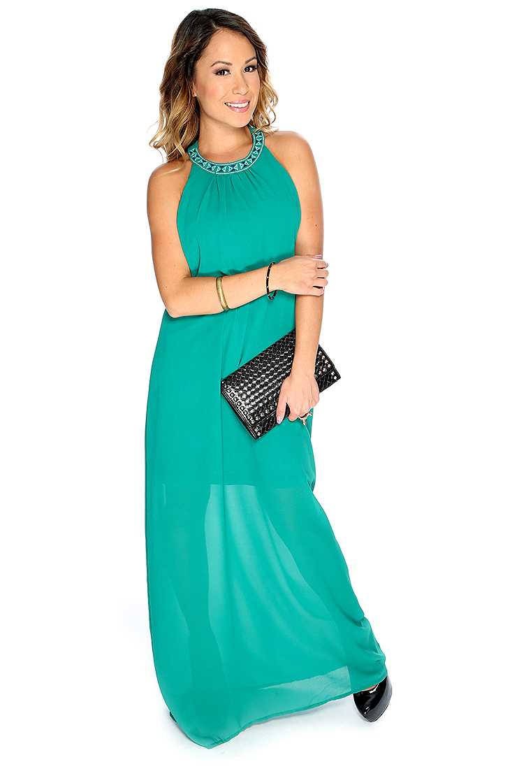 Sexy Hunter Green Halter Maxi Dress
