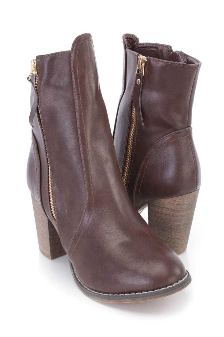 Brown Outer Side Zipper Ankle Booties Faux Leather
