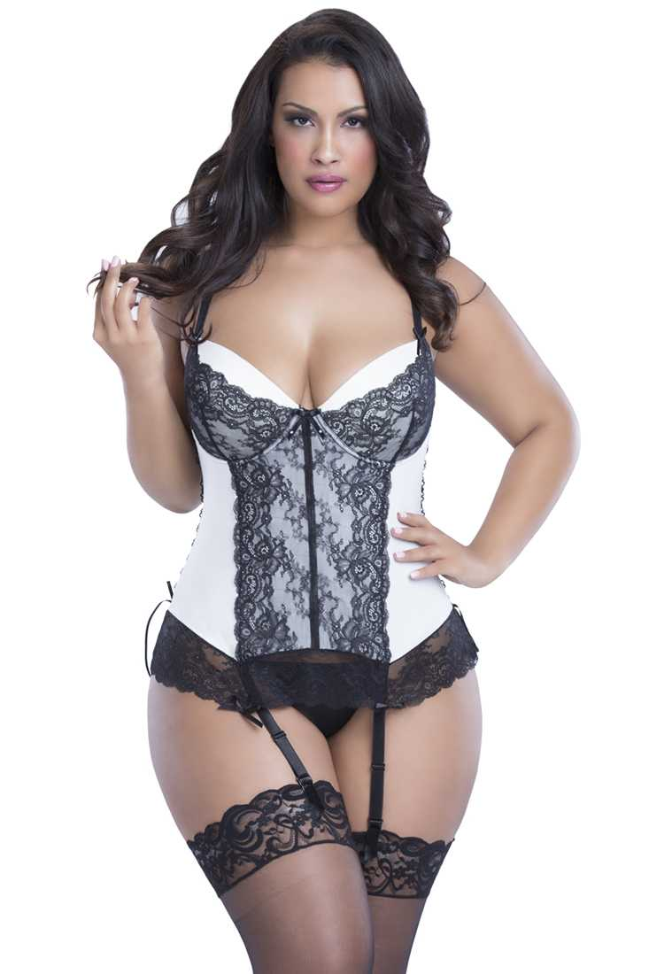 Sexy Black Ivory Lace Up 2 Piece Bustier Set