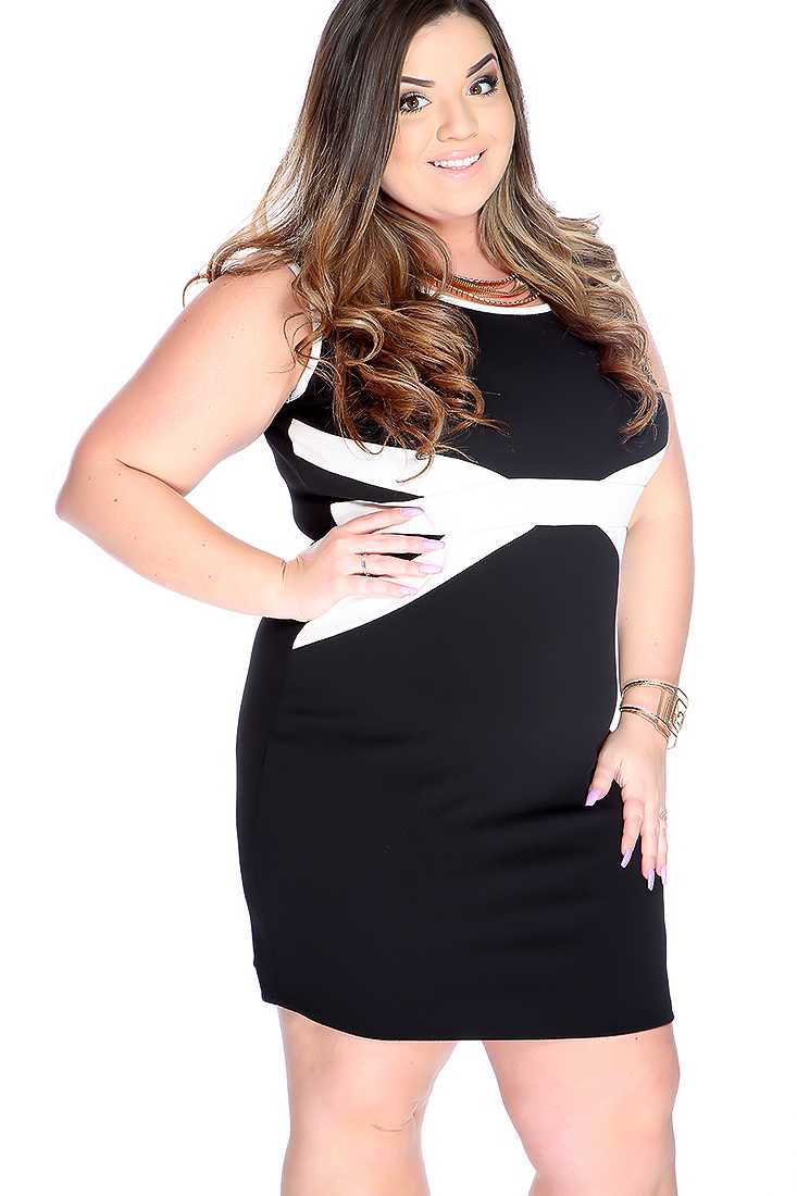 Sexy Black Two Tone Sleeveless Plus Size Party Dress