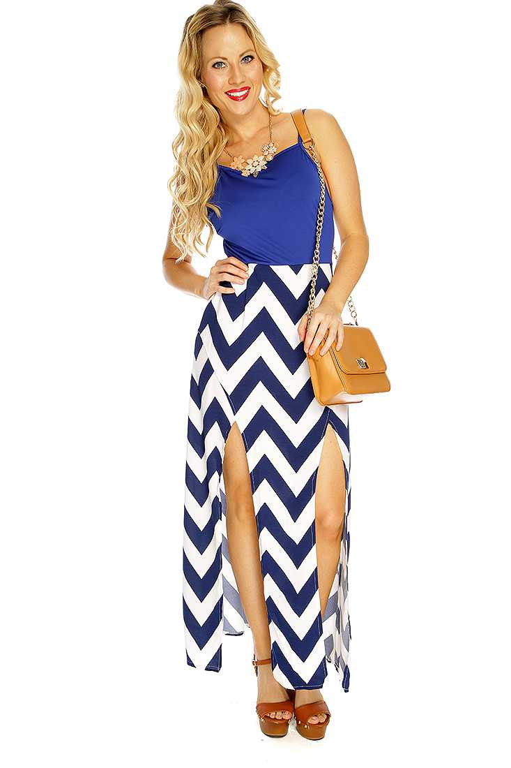 Navy Chevron Print Double Slit Sexy Dress