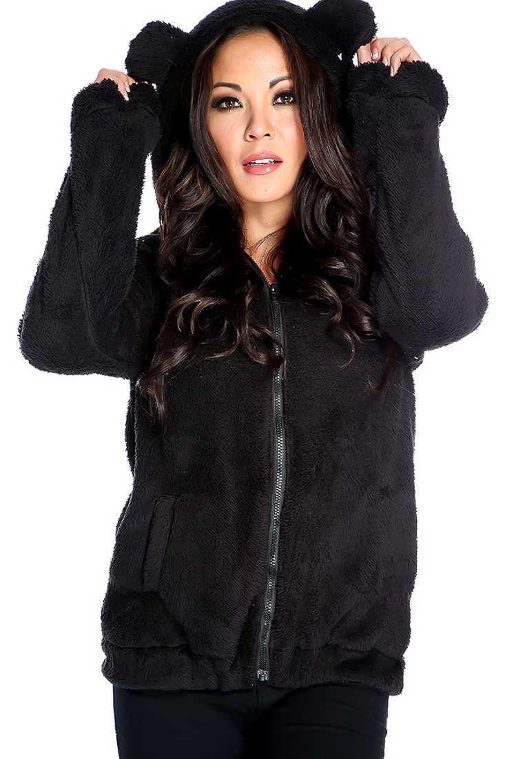 Warm Black Long Sleeve Animal Ears Plush Sweater