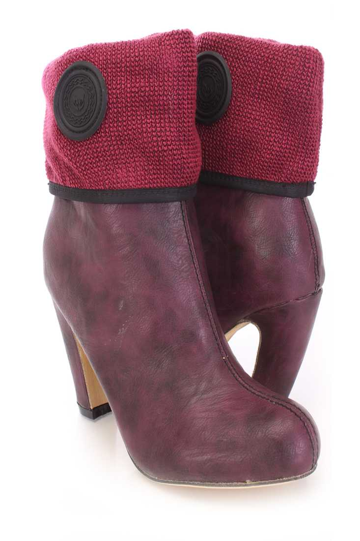 Burgundy Knitted Cuffed Booties Faux Leather